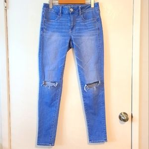 AMERICAN EAGLE OUTFITTERS Super Super Stretch Cotton Blend Blue Jeggings size 8